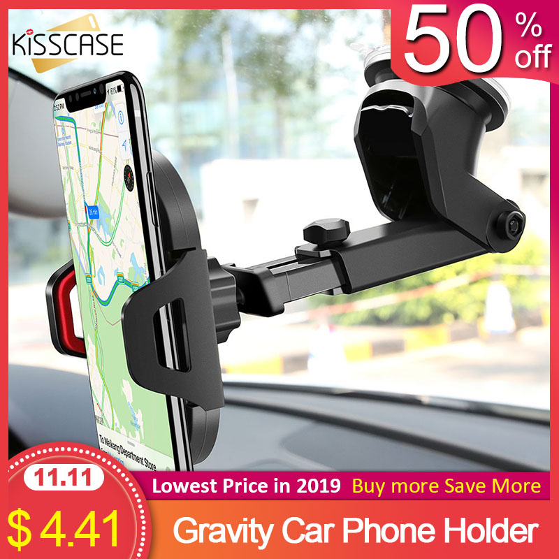 KISSCASE Windshield Gravity Sucker Car Phone Holder For IPhone X 11 Pro Holder For Phone In Car Support Smartphone Voiture Stand