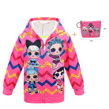 New surprise cartoon doll LOl hooded jacket big head doll girl pattern zipper shirt in children's sweater + bag(China)