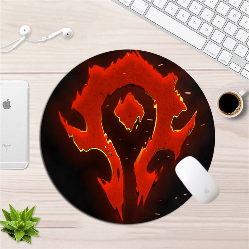 22x22cm Round World Of Warcraft Gaming Mouse Pad Gamer Small Size Rubber Horde Alliance Mousepad Locking Edge Office Desk Mat