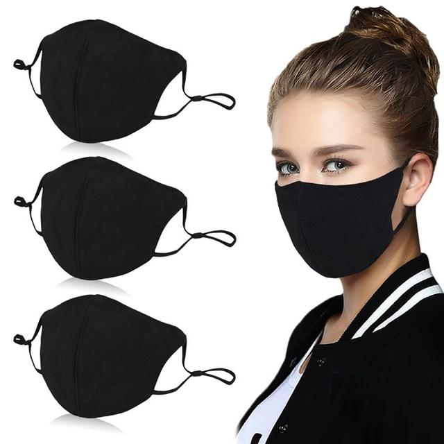 3pcs Solid Color Mouth Mask Breathable Dust Proof PM2.5 Mask Facial Mouth Cover Clothing Accessories For Outdoor Unisex 1