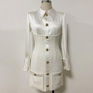 Image 2 - High street 2020 nova moda designer vestido de manga longa das mulheres cetim tweed retalhos leão botões vestido