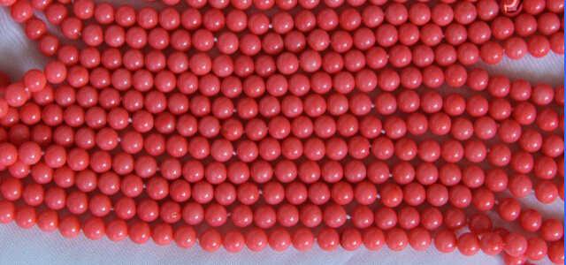 DdhN437 8 แถว 7 มม.รอบสีชมพูดิบ Coral สร้อยคอลูกปัด N ส่วนลด (A0325)