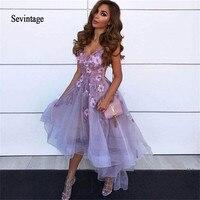 Sevintage Lavender 3D Flower Cocktail Dresses High Low V Neck Lace Applique Vestidos De Gala Tulle Homecoming Gowns Abendkleider