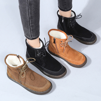 PEIPAH Genuine Leather Women Flat Boots Ladies Wool Lace Up Marting Shoes Woman Ankle Solid