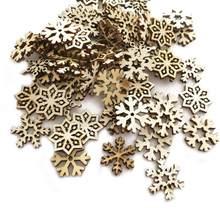 Décorations artisanales de noël en bois naturel, 100 pièces, flocons de neige, découpes, embellissements, bricolage, accessoires décoratifs, ornement manuel, A35