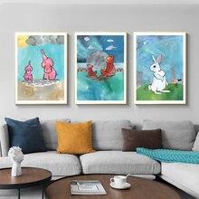Постеры и принты с мультяшным рисунком розового слона кролика