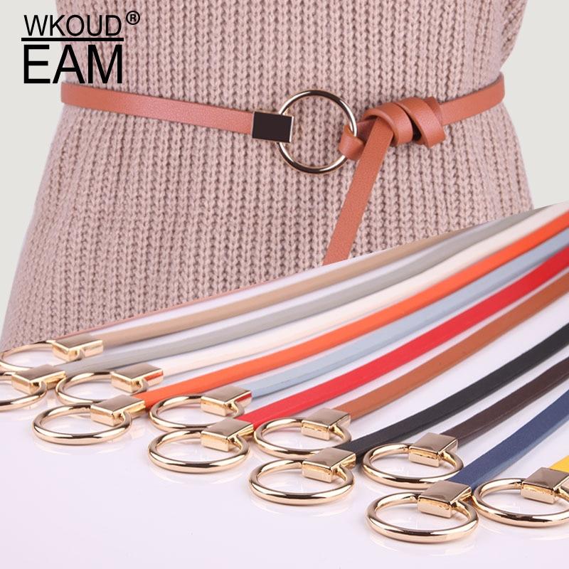 WKOUD EAM 2020 New Round Buckle Leather Belt For Women Fashion Tie Corset Belt Korea Trendy Wild Dress Waistband Lady Tide PF193