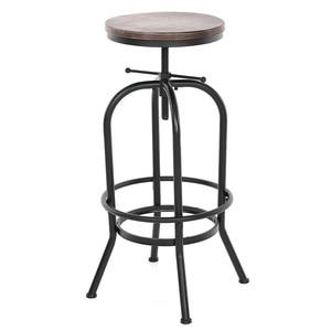 Kayaa Industrial Style Height Adjustable Swivel Bar Stool Natural Pinewood Top Kitchen Dining Breakfast Coffee Chair