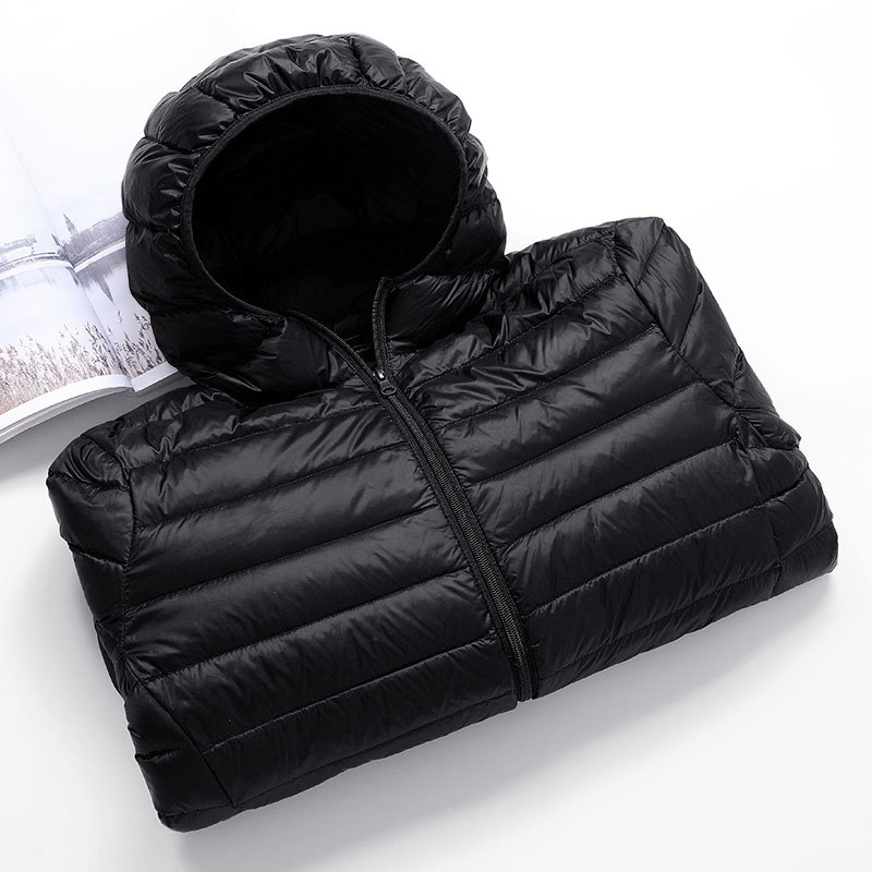 Casual Men's Down Jacket Autumn Winter Mens Thin Light Standing Collar&hooded White Duck Down Coat Male Solid Color Warm Outwear