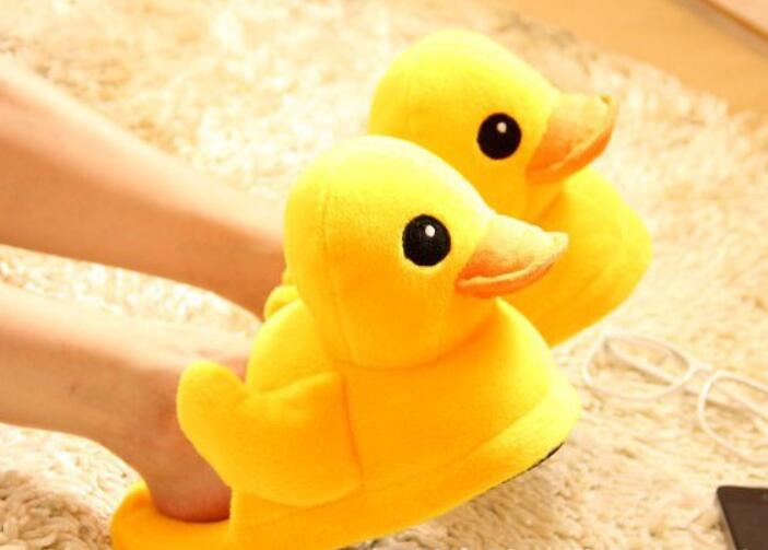 Winter Slippers Women Warm Slippers Cute Duck Slippers Flats Winter Warm Plush 2019 Adult Cartoon Women Unisex Home Indoor Shoes image