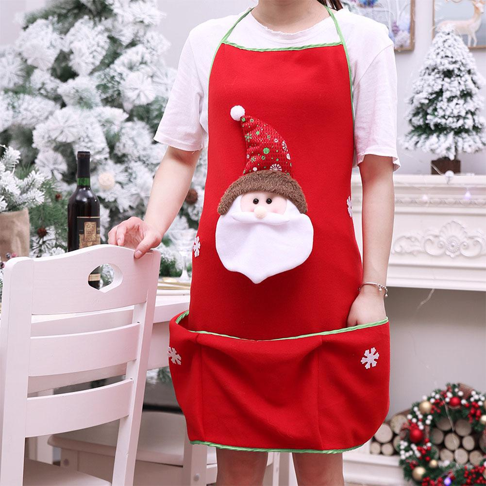 1pc Cartoon Christmas Series Pattern Apron for Home Restaurant Kitchen Supplies