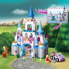цена на New Sluban Building Bricks 815pcs Blocks Princess Cinderella Sapphire Castle Compatible Friends Education DIY Kit Gift Toys Girl