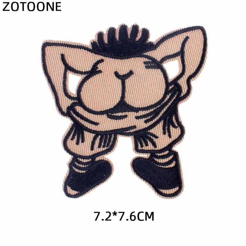Zotoone Straniero Cose Uomo di Ferro Basso Toppe E Stemmi per Abbigliamento Ricamato Fai da Te Banda Sulla Zona Divertente di Burla di Scherzo Dei Pantaloni Del Sacchetto Distintivo