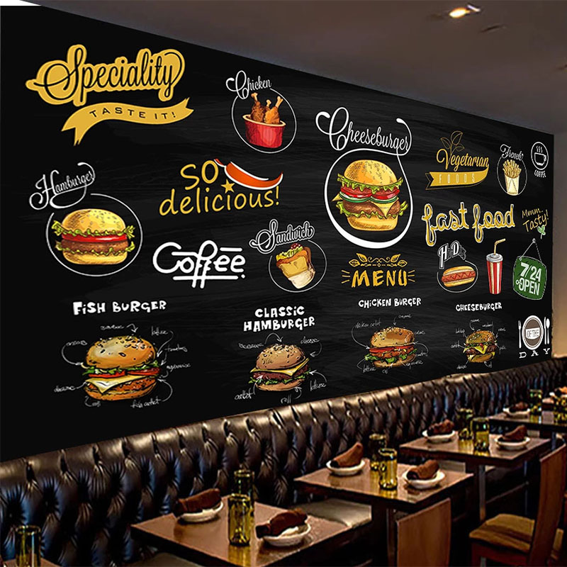 Self Adhesive Wallpaper 3d Hand Painted Blackboard Western Food Pizza Hamburger Background Wall Painting Waterproof 3d Murals Wallpapers Aliexpress