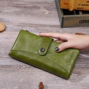 Image 4 - X.D.BOLO Fashion Wallets Women Genuine Leather Wallet High Capacity Card Holder Long Wallet Double Zipper Female Clutch Purse
