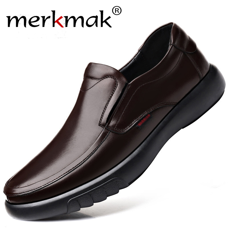 Merkmak 2019 Men's Genuine Leather Shoes Big Size 38-47 Slip-on Loafers Men Leather Casual Shoes Fashion Winter Warm Footwear