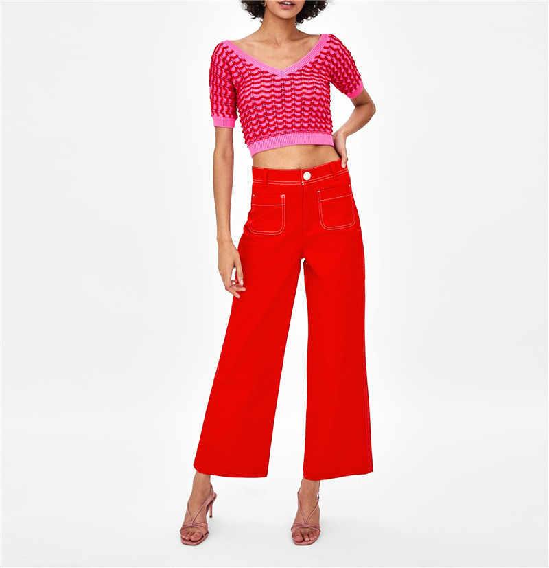 2019 primavera pista suéter de las mujeres Pantalón corto con contraste de Color de manga larga Jersey de punto con cuello de pico de moda Slim corto sudaderas Arco Iris suéter