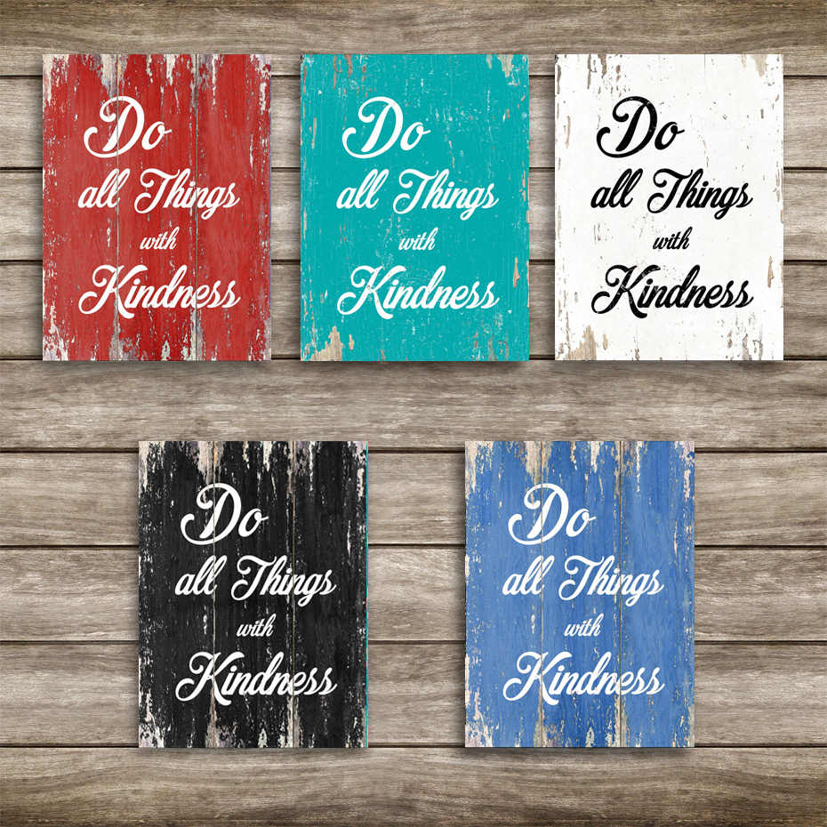 Do All Things With Kindness Canvas Paintings Life Inspirational Kind Quotes Wall Art Prints Posters Picture Bedroom Home Decor Aliexpress