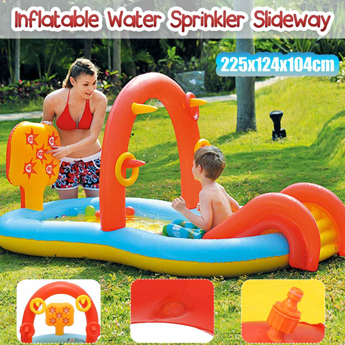 Inflatable Water Sprinkler Pool Water Sprinkler Slides Toy Kids Outdoor Funny Summer Splash PVC Balls Kids' Water Toys