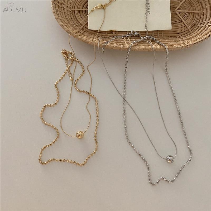 AOMU 2020 в Корейском стиле ретро Слои круглый шар ожерелье Золото бусина серебряного цвета ожерелье для женщин новые ювелирные изделия Вечерн...