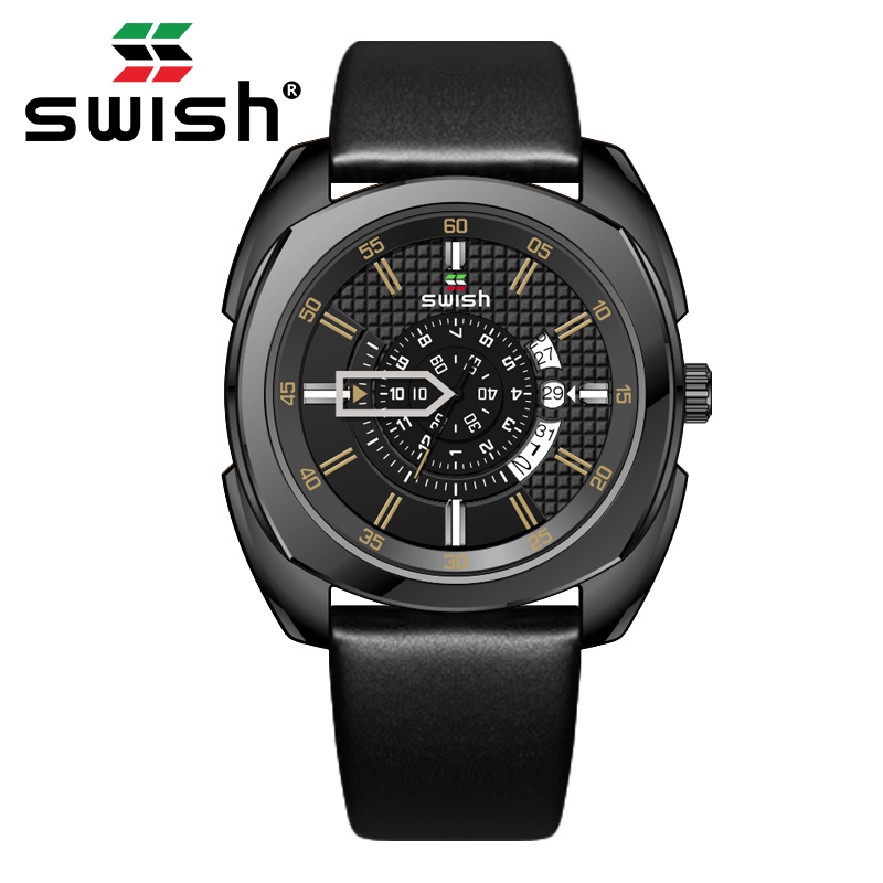 SWISH 2020 Mens Watches Luxury Brand Waterproof Quartz Watch Man Fashion Leather Wrist Watch Men Clock Relogio Masculino 1