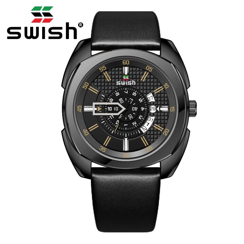 SWISH 2020 Mens Watches Luxury Brand Waterproof Quartz Watch Man Fashion Leather Wrist Watch Men Clock Relogio Masculino 1