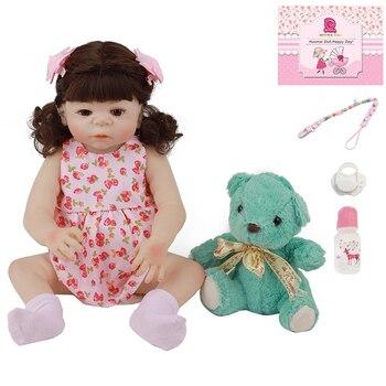48CM Full Silicone Simulation Baby Rebirth Doll Toy Baby Doll Lifelike Silicone 18'' Reborn Doll newborn Doll Baby Gift