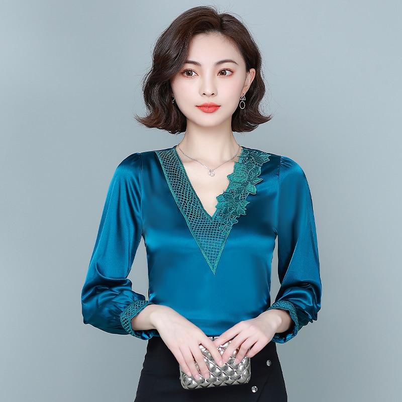 Silk Blouse Women Long Sleeve Satin Blouses Tops Woman Embroidery Floral Blouse Top Plus Size Elegant Women V-neck Satin Shirt