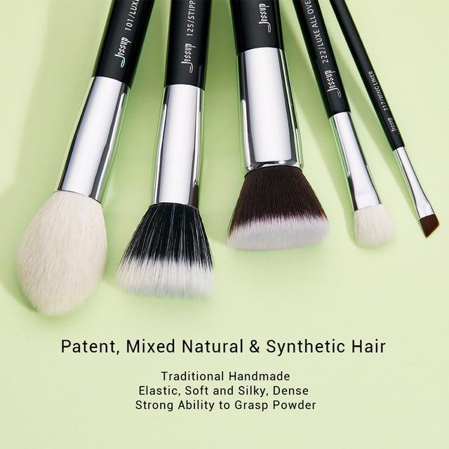 Jessup Black/Silver Makeup brushes set professional with Natural Hair Foundation Powder Eyeshadow Make up Brush Blush 6pcs-25pcs 1
