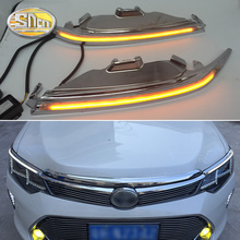For Toyota Camry 2015 2016, Car Styling LED Headlight Brow Eyebrow Daytime Running Light DRL With Yellow Turn signal Light drl daytime running light for mitsubishi outlander 2016 2017 with yellow turn signal light led car day light