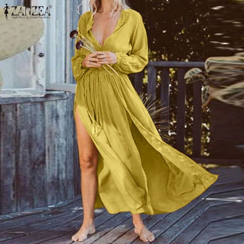 ZANZEA Summer Bohemian Dress Women Long Sleeve High Split Sundress Beach Long Vestido Casual Solid Drawstring Dresses Femininas