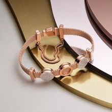Conjunto de pulsera de color plateado s925, pulsera DIY con dijes, dijes originales de lujo para mujer, joya pulsera para regalos para mujer