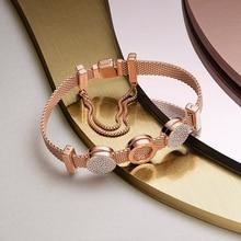 Набор браслетов из серебра s925, браслет «сделай сам» с шармами, подходит для роскошных оригинальных шармов s925, женский браслет, ювелирные изделия, подарки для женщин