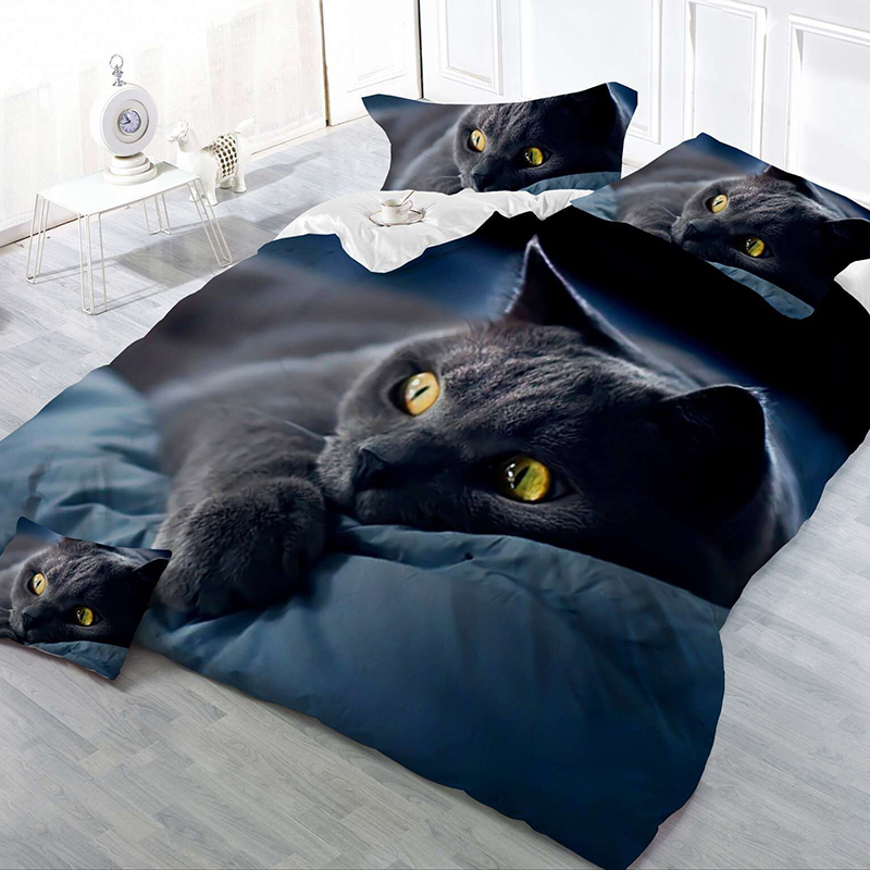 2/3Pcs Bedding Set 3D Cat Printing Bedclothes King Queen Size Quilt Cover Brief Decor Winter Comfortable