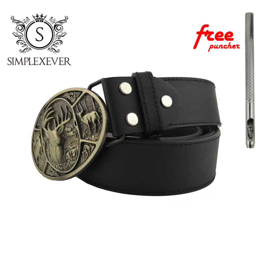 Drop Shipping Brass Deer Belt Buckle New Oval Animal Belt Buckle With Leather Belt For Men Continous Stock