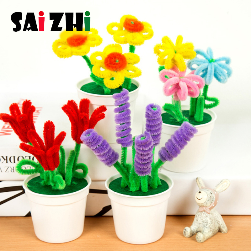 Saizhi Hand Twisted Bar Hair Root Small Flower Pot Plant Kindergarten Children Diy Manual Creative Small Potted Plant Kids DIY T