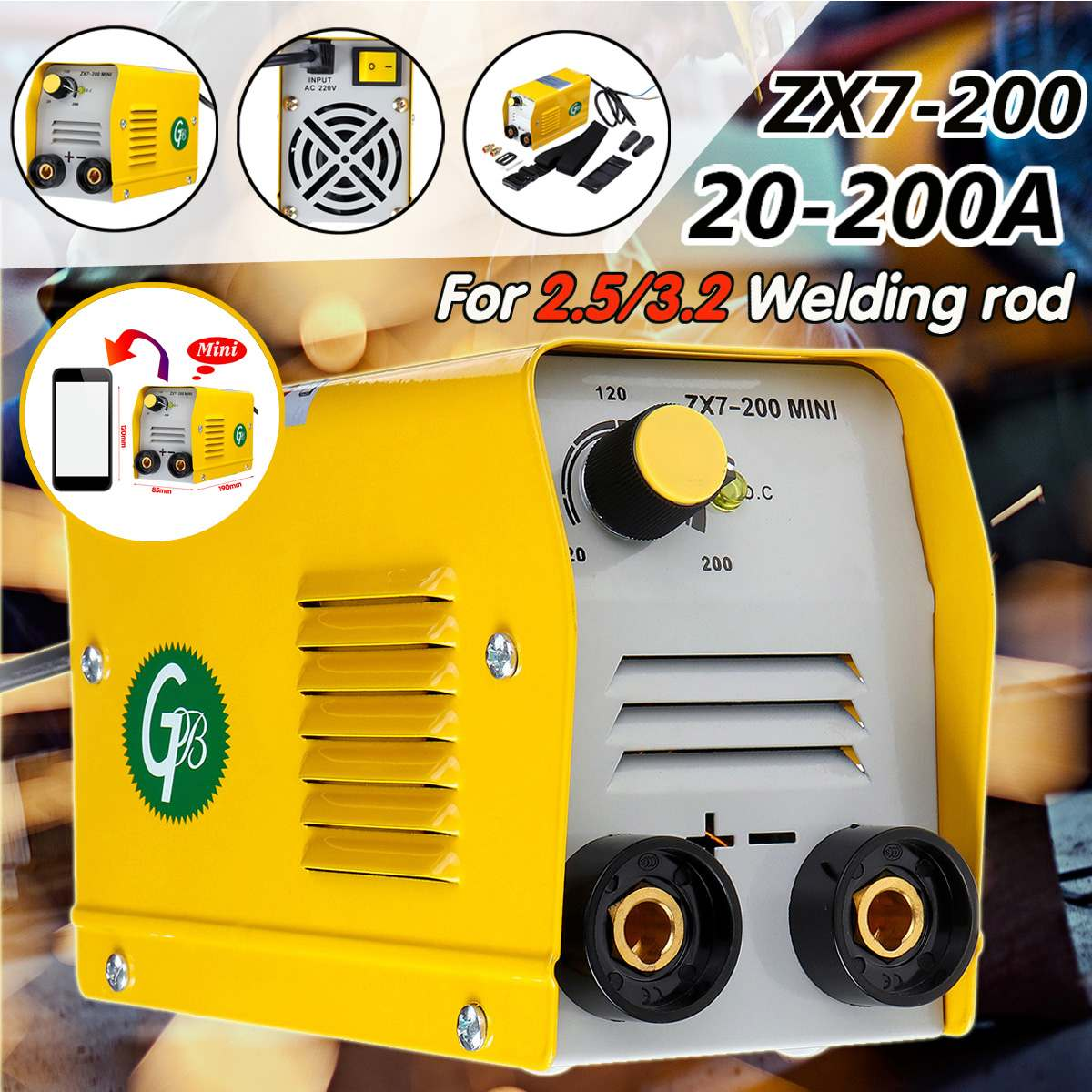 ZX7-200 220V Handheld Mini MMA Electric Stick Welder Insulated Electrode Inverter Arc Force Metal Welding Machine Portable Tool