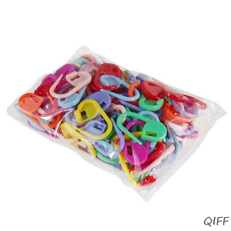 50Pcs Candy Color Plastic Locking Stitch Markers Knitting Crochet Needle Clip