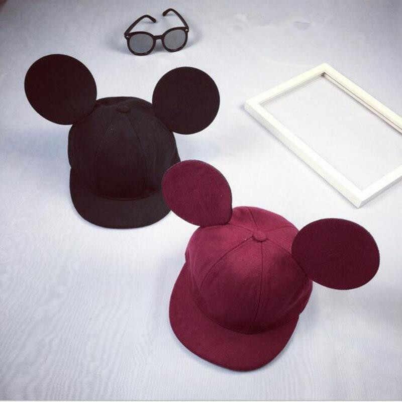 2019 جديد الكرتون لطيف الشتاء آذان كبيرة قبعات ترد لمكانها الفتيات قبعة الهيب هوب البيسبول قبعات الإناث 100% الصوف الحقيقي قبعة ل النساء