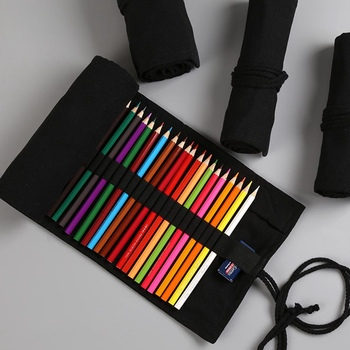 Black Color School Pencil Case Roll 12/24/36/48/72 Holes Penal Pencilcase Canvas Large Pen Bag for Girls Boys Stationery Pouch