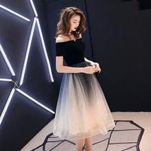 Banquet Evening Dress 2020 New Fashion Off the Shoulder Short Sleeve Gradient Prom Party Dress Sequins Tea Length