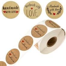 Печать этикетки наклейки канцтовары бумага 500 натуральных материалов ручной работы с любовью в круглый рулон Крафт спасибо модели фирменное наименование