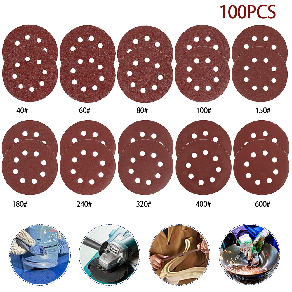 100Pcs 5in Sander Disc 40-600 Grit Sandpaper Sheet Hook Loop Sanding Disc Sanding Disk For 8 Hole 125mm Sandpaper Grinding Disc