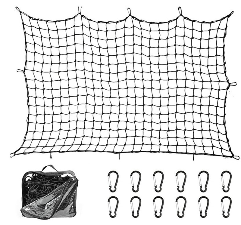 Super Duty Bungee Cargo Net For Truck Bed Stretches To 12 D Clip Carabiners   Small Mesh Holds Small And Large Loads Tighter