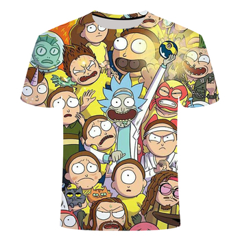 Rick and Morty 3D T-shirt graffiti style series 2 fun summer t-shirt men and women short-sleeved tops round neck tops size S-6XL 1