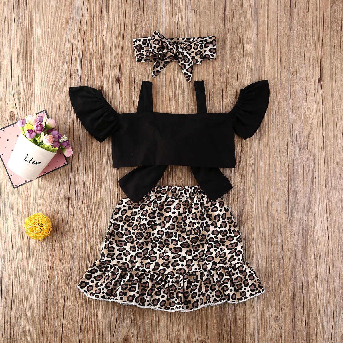 קיץ פעוט תינוק בנות בגדי סטי 3pcs Bow כבוי כתף T חולצות הדפס מנומר חצאיות סרט