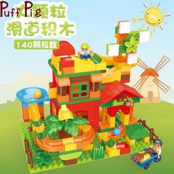 140pcs Marble Race Run Block Building Blocks Farm Windmill Funnel Slide DIY Brick Toy for Children Duplo