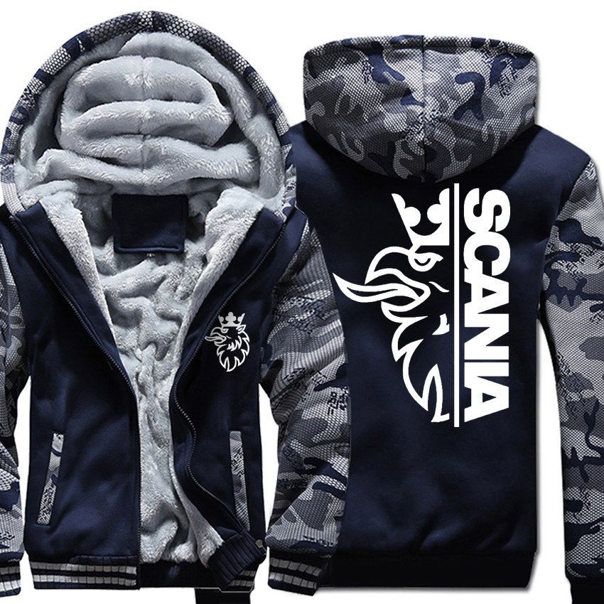Streetwear Hoodie Jacket Zipper Warm Military Autumn SCANIA Thick Winter Camouflage Mens
