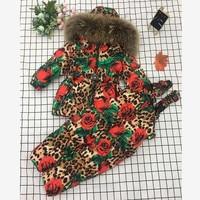 Winter Children Hooded Warm Down jackets Coat Kids Snow Wear Print Outerwear Real Raccoon Dog Fur Collar Parka Down Coat Y1614