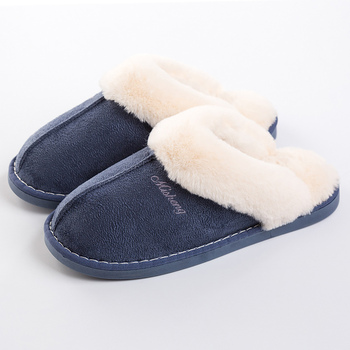 Women's slippers suede Plus size 40-46 Winter slippers Plush Non slip Home slippers for girl Warm Indoor slippers lovers short plush winter warm indoor slippers casual men